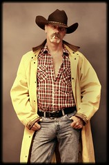 The Maverick (Cowboy Tommy) Tags: portrait man hot sexy fashion cowboy jean cigarette smoke handsome wranglers smoking moustache duster western stache tight levis blazer rugged bulge selftimer
