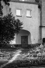Face of a building ; ) (Filip Federowicz (filu)) Tags: flowers windows urban bw building zeiss sony poland warsaw 白黒 a900 sal135f18z ゾナー ツァイス cz135 cz135mm sonnar13518za zeiss135 filipfederowicz ソニ