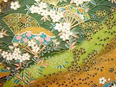 DSC04614 - Japanese hand-made paper (tengds) Tags: flowers brown white green waves sakura fans japanesepaper washi handmadepaper chiyogami yuzenwashi tengds