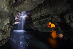 Smoo Cave (Philipp Klinger Photography) Tags: uk longexposure greatbritain blue light shadow sea orange fall nature water rock stone landscape scotland waterfall nikon rocks long exposure slow unitedkingdom britain united great north kingdom slowshutter shutter gb cave northern philipp durness hhle d800 klinger smoo smoocave northernscotland