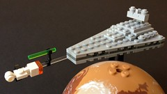 Pursuit over Tatooine (Pellaeon) Tags: starwars lego micro tatooine stardestroyer moc devastator blockaderunner tantiveiv