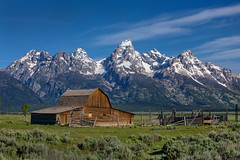 "Tetons and the John Moulton Barn (IronRodArt - Royce Bair (""Star Shooter"")) Tags: park usa mountain barn america john grand national western vista wyoming grandtetons teton tetonrange moulton grandtetonnationalpark landscapte mormonrow antelopeflats moultonbarn johnmoultonbarn"