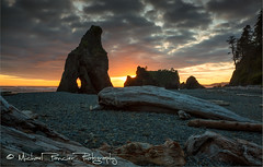 Arches Meets Olympic (Michael Pancier Photography) Tags: wood sunset washington rocks arch unitedstates arches pacificocean pacificnorthwest forks nationalparks rubybeach olympicnationalpark 35 americathebeautiful fineartphotography seastacks travelphotography commercialphotography naturephotographer michaelpancierphotography landscapephotographer fineartphotographer nationalparkphotography michaelapancier americasnationalparks playaocean wwwmichaelpancierphotographycom