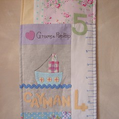Growth chart Cayman1 (Roxy Creations) Tags: ocean chart fish girl hand handmade turtle growth fabric applique embroidered