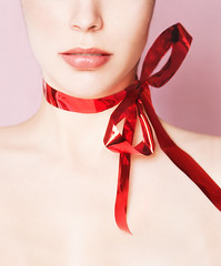 The Gift (AnnuskA  - AnnA Theodora) Tags: pink red portrait selfportrait colors beauty face lips gift ribbon elegant