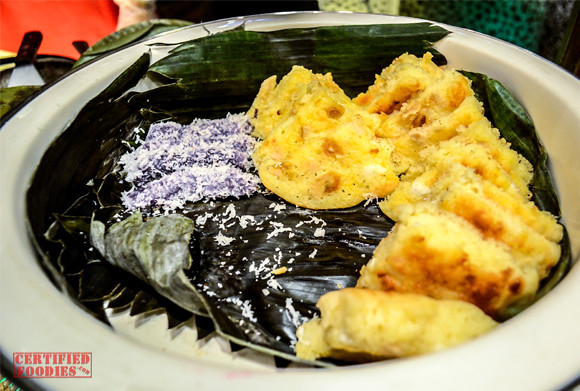 Freshly cooked Puto Bumbong and Bibingka at Cafe Jeepney's buffet