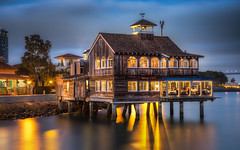 The Pier Cafe at Dusk (Justin in SD) Tags: ocean wood blue food building night dinner canon lights restaurant bay pier downtown sandiego dusk structure sd canon5d bluehour elevated hdr seaportvillage sandiegobay piercafe canon5dmarkiii 5d3 5dmark3 canon5dmark3