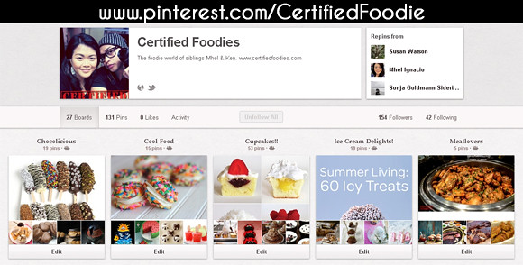 Certified Foodies Pinterest page