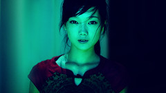 Rain (Jonathan Kos-Read) Tags: china asian scary neon innocent chinese beijing young highcontrast greenlight 169 redshirt 85mmf14d hotasiangirl hotchinesegirl erranthair nikond700 iceboxcool unanicool stareatcamera asianhorrormovie nikon85mmf14dlens