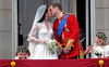 Prince William and Catherine Middleton kiss on the balcony The Wedding of Prince William and Catherine Middleton - Buckingham Palace Balcony London, England