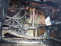 Carb rebuild step 1, removal. (horsepj) Tags: summer honda indiana motorcycle carbs glowing bloomington gasoline rebuild carburetors 2016