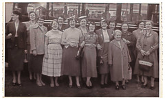 A Ladies Day Out, Bradford. (ManOfYorkshire) Tags: people ladies workers dayout excursion coach bus 1950s courtaulds bradford mother 1940s party group history nostalgia happy enjoyment rare brief gthorton greathorton factory