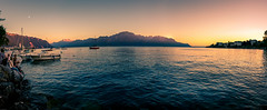 Sunset over Leman Waters (Steven-ch) Tags: lemanwaters frenchalps sunset lakegeneva eos6d mountains sparkling panorama montreuxjazzfestival boats canon montreux switzerland vaud ch
