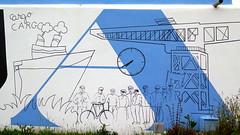 Où étais-je donc ? A la Pallice près d'un bunker décoré afin d'illustrer les activités de la ville  [Explore 05/09/2016] (Sokleine) Tags: graffiti grafitti graff bleu blanc white blue bunker lapallice larochelle charentemaritime