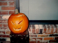 Pumpkin on the porch (giveawayboy) Tags: pumpkin jackolantern face carving window porch halloween october spooky eerie party