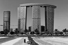 The Gate - Abu Dhabi, United Arab Emirates (Dutchflavour) Tags: architecture abudhabi unitedarabemirates uae building office skybridge thegate towers blackandwhite bw monochrome alreemisland