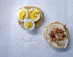 Breakfast Scene (cbonney) Tags: breakfast english muffin egg bacon cream cheese food