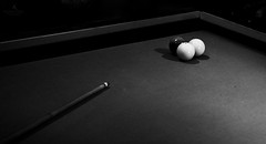 Three-ball billiard (hector_cbs) Tags: three ball balls billiard pool blackandwhite black white game