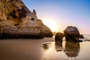 Kissing Rocks (D.ROS) Tags: 2016 beach blue cliff landscape light magenta nature orange plants portimao portugal praiadovau rocks sand seayellow sun sunrise sunset water white supershot