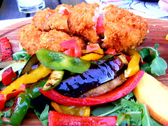 fried chicken and vegetables (seanfderry-studenna) Tags: chicken breast salad onion dish italian closeup basil lettuce natural plate fried green white diet horizontal restaurant grill slices greek roasted vegetable dinner healthy grilled whitemeat fillet vitamin appetizer appetizing background fresh nutrition lowfat sliced rucola food eating filet meat dinning cesar paprika pepper red eggplant aubergine