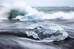 The wash (loddeur) Tags: ijsland jokulsarlon iceland ice sea ijsschots longexposure filter nd8 zee coast black sand wave splash seascape