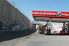A petrol station next to the Israeli separation barrier