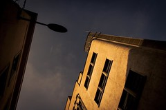 Urban Mythologies : Icarus' Dream (Gilderic Photography) Tags: street city light brussels sky urban cinema building lamp up architecture plane canon eos lampe spring europe raw mood belgium belgique belgie bruxelles story ciel lumiere bain icarus cinematic rue brussel printemps ville avion lampadaire batiment lightroom icare 500d saintjosse gilderic