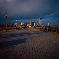 racing the storm (Barry Yanowitz) Tags: 6x6 film mediumformat newjersey jerseycity flickr fuji nj 120film scanned filmcamera libertystatepark fujivelvia50 colorfilm rolleicordv