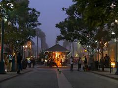 Old Trolley Station (lefeber) Tags: california street city trees urban mist fog architecture buildings lights la vanishingpoint losangeles dusk santamonica perspective foggy sidewalk promenade plus twinklelights
