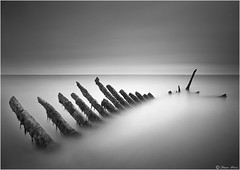 Longniddry old shipwreck 3 (Fraser.Price) Tags: ocean old uk longexposure light shadow sea sky bw seascape nature water clouds landscape outdoors coast scotland blackwhite waves shipwreck lee coastline lothian eastlothian d700