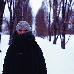 hasselblad 006 (geirt.com) Tags: winter portrait woman brown white snow black cold cute ice me nature girl look hat smart oslo scarf nose grey see eyes funny you expression coat have button be grin had lovely done capture must snarl threes