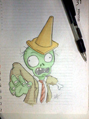 Zombie (Will Stopinski) Tags: plants game green mobile illustration dead cone drawing zombie fanart will terror vs zombies ios desenho android zumbi zoombie stopinski plantsvszombies popcape