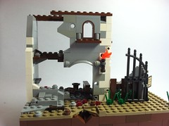 Ruined building (Blockburn12) Tags: soldier lego german soviet sniper decal minifig minifigs easternfront mp40 brickarms