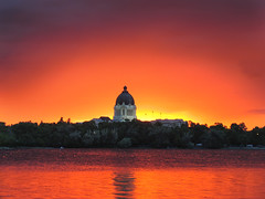 Happy Canada Day ! (Harry2010) Tags: park red orange lake canada reflection water architecture wow landscape lights parliament colourful regina saskatchewan canadaday frontpage wascanalake onfrontpage