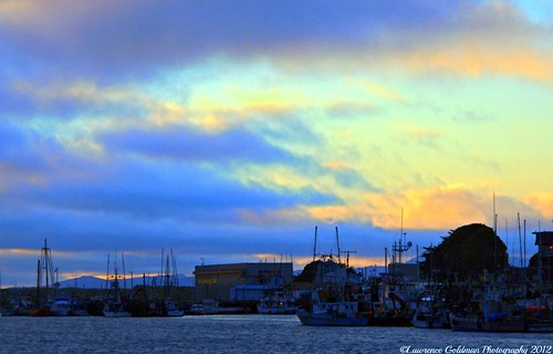 Fishing Harbor Morro Bay California at Sunset