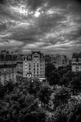 Threatening Sky, Paris - France (Stewart Leiwakabessy) Tags: street blue sky people blackandwhite bw white black paris france clouds buildings grey blackwhite ancient pierre gray stewart rue 75015 hdr highdynamicrange bnw leiwakabessy stewartleiwakabessy photomatix hausmannien