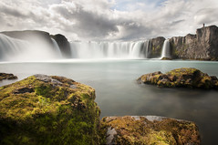 Waterfall of the Gods II (laverrue) Tags: longexposure cloud water stone roc waterfall iceland paradise dream silk ridge akureyri godafoss mvatn goafoss riverskjlfandafljt