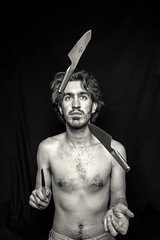Day 189 (Michael Rozycki) Tags: portrait horse white black self canon project dangerous play personal body cut knife games sharp 7d blade knives juggling juggle 1755