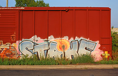 Strike (The Braindead) Tags: art car minnesota wall train bench photography graffiti interesting flickr box painted tracks minneapolis twin rail zee explore most strike beyond zombies the braindead cites flickrs thebraindead