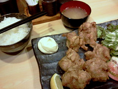 Karaage (deep-fried chicken) lunch set from Kuchan @ Ichigaya (Fuyuhiko) Tags: from chicken set lunch tokyo    deepfried ichigaya   karaage  kuchan