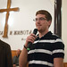 Brandon Wenger speaks at the Asenovgrad church.
