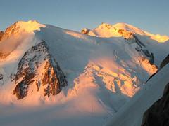 Mont Blanc trio at sunrise (DmitMF) Tags: morning travel mountain france alps tourism sunrise french early view scenic du mount alpine chamonix mont blanc maudit tacul