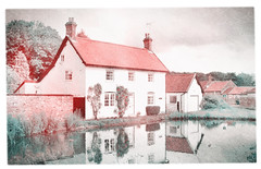 Village Life in Technicolor (Ryan J. Nicholson) Tags: house building film home water vintage countryside pond perfect village wildlife yorkshire cottage fake property scene front east riding domestic tones effect bishop burton technicolour