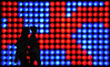 silhouettes, red/blue (Dreamer7112) Tags: street blue red people backlight night austria tirol streetphotography silhouettes balls bulbs backlit tyrol innsbruck passageway oesterreich durchgang diplomreise humaningeometry