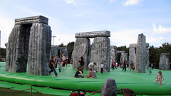 A bouncy castle version of Stonehenge, an artwork called Sacrilege, is a free 2012 Games ride touring UK (seanfoneill) Tags: london festival greenwich games stonehenge olympics seller sacrilege london2012 londonfestival london2012festival bbc2012 london2012fest