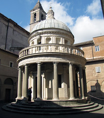 Bramante's Tempietto, oblique view (with Beth)