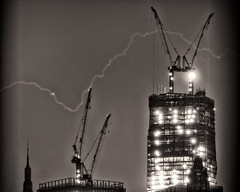Lightning over the Freedom Tower (Diacritical) Tags: blackandwhite iso200 cranes lightning 2012 d4 freedomtower f48 70200mmf28 340mm 60sec nikond4 oneworldtrade