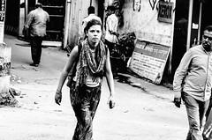 Do I know you ? (Shubhang Pandey) Tags: life street blackandwhite bw woman india man monochrome grain