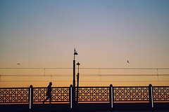 Galata bridge... (munal4) Tags: galata bridge sunset human istanbul insan street sokak walk history geometry graphic line emotion olympus olympuspenf