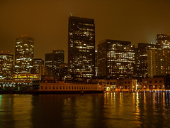 Pier 7 (andbog) Tags: usa states sanfrancisco california building skyscraper city night casio qvr40 fog ca mist unitedstatesofamerica notte compactcamera casioqvr40 lowres lowresolution pointandshoot ps westcoast reflection lights grattacielo skyline ferry water sea pier molo waterfront buildings edificio architettura architecture citt longexposure dark reflections riflessi